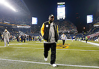 Head coach Mike Tomlin of the Pittsburgh Steelers walks off of the field following their 39-30 loss to the Seattle Seahawks at CenturyLink Field on November 29, 2015 in Seattle, Washington. (Photo by Jared Wickerham/DKPittsburghSports)