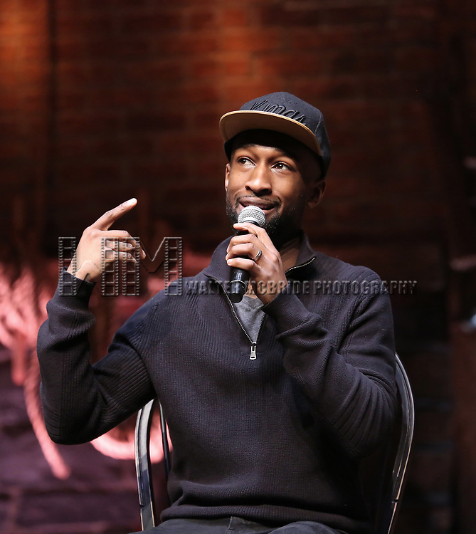 "Donald Webber from the 'Hamilton' cast during a Q & A before The Rockefeller Foundation and The Gilder Lehrman Institute of American History sponsored High School student #EduHam matinee performance of ""Hamilton"" at the Richard Rodgers Theatre on 5/10/2017 in New York City."