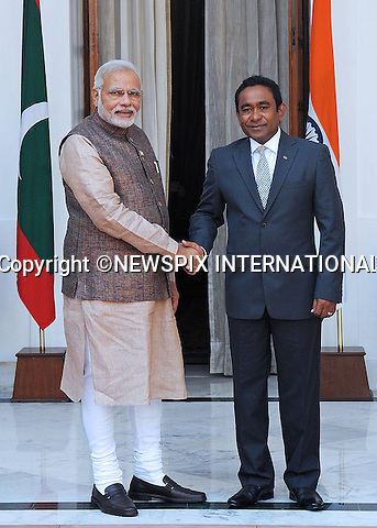 PRIME MINISTER NARENDRA MODI AND PRESIDENT ABDULLA YAMEEN ABDUL GAYOOM<br /> The new Indian Prime Minister meets with the President of the Republic of Maldives, on his first day in office in New Delhi_May 27, 2014.<br /> Modi is the leader of the nationalist Bharatiya Janata Party that won a convincing victory in the recent general elections. <br /> Mandatory Credit Photos: NEWSPIX INTERNATIONAL<br /> <br /> **ALL FEES PAYABLE TO: &quot;NEWSPIX INTERNATIONAL&quot;**<br /> <br /> PHOTO CREDIT MANDATORY!!: NEWSPIX INTERNATIONAL(Failure to credit will incur a surcharge of 100% of reproduction fees)<br /> <br /> IMMEDIATE CONFIRMATION OF USAGE REQUIRED:<br /> Newspix International, 31 Chinnery Hill, Bishop's Stortford, ENGLAND CM23 3PS<br /> Tel:+441279 324672  ; Fax: +441279656877<br /> Mobile:  0777568 1153<br /> e-mail: info@newspixinternational.co.uk
