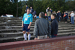 Harestanes AFC v Girvan FC, 15/08/2015. Scottish Cup preliminary round, Duncansfield Park. A home players chatting to spectators after Harestanes AFC played Girvan FC in a Scottish Cup preliminary round tie, staged at Duncansfield Park, home of Kilsyth Rangers. The home team were the first winners of the Scottish Amateur Cup to be admitted directly into the Scottish Cup in the modern era, whilst the visitors participated as a result of being members of both the Scottish Football Association and the Scottish Junior Football Association. Girvan won the match by 3-0, watched by a crowd of 300, which was moved from Harestanes ground as it did not comply with Scottish Cup standards. Photo by Colin McPherson.