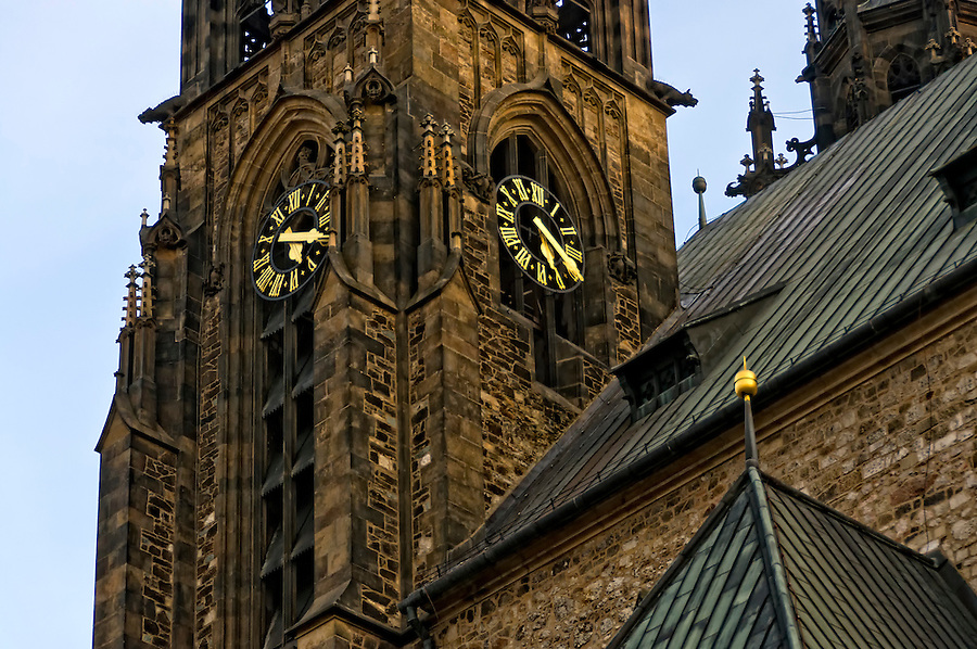 Detail of the clock and structure of St. Peter and Paul (Petrov) Cathedral in Brno