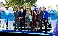Actors Danny Pudi, Joe Manganiello, Meghan Trainor, Demi Lovato, Ariel Winter, Jack McBrayer &amp; Jeff Dunham at the world premiere for &quot;Smurfs: The Lost Village&quot; at the Arclight Theatre, Culver City, USA 01 April  2017<br /> Picture: Paul Smith/Featureflash/SilverHub 0208 004 5359 sales@silverhubmedia.com