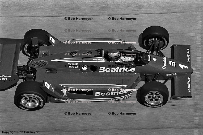 MILWAUKEE, WI - JUNE 2: Mario Andretti drives his Lola T900/Cosworth to victory in the Miller American 200 on June 2, 1985, at the Milwaukee Mile near Milwaukee, Wisconsin.