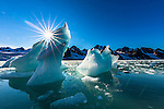 Sun burst in bergy bits, Svalbard, Norway
