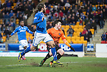 St Johnstone v Dundee United.....29.12.13   SPFL<br /> Stevie May scores his third goal<br /> Picture by Graeme Hart.<br /> Copyright Perthshire Picture Agency<br /> Tel: 01738 623350  Mobile: 07990 594431