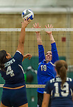 1 November 2015: Yeshiva University Maccabee Middle Blocker Marissa Almoslino, a Junior from Seattle, WA, jumps up to block against the Saint Joseph College Bears at SUNY Old Westbury in Old Westbury, NY. The Bears shut out the Maccabees 3-0 in NCAA women's volleyball, Skyline Conference play. Mandatory Credit: Ed Wolfstein Photo *** RAW (NEF) Image File Available ***