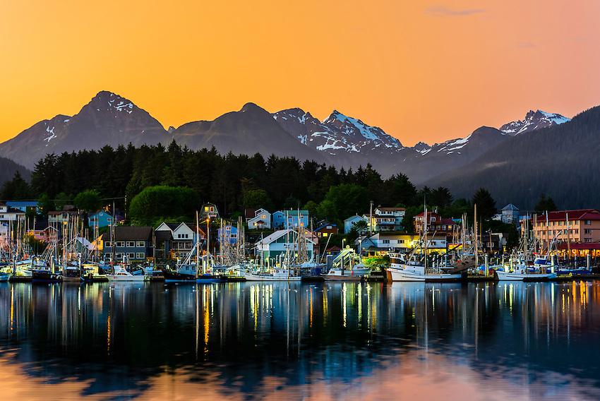 Twilight view of the harbor area, Sitka, Alaska USA.