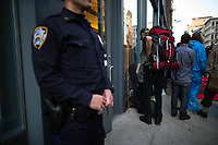 NEW YORK, NY - APRIL 5: Indigenous peoples and Activists arrives to begin the overnight camp out in front of the branch on April 5, 2017 in Soho, New York City. Activists are looking to drive mayor Bill De Blasio attention to divest founds from banks like Wells Fargo &amp; Company which has caused controversy for their investment in the Dakota Access Pipeline (DAPL)&mdash;a project that will be constructed through land owned by the Standing Rock Indian Reservation and covers land stretching from North Dakota to central Illinois. Photo by VIEWpress/Eduardo MunozAlvarez<br /> <br /> divest