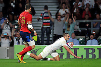 Jonny May of England scores a try. QBE International match between England and France on August 15, 2015 at Twickenham Stadium in London, England. Photo by: Patrick Khachfe / Onside Images