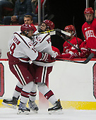 Jake Horton (Harvard - 19), Ty Pelton-Byce (Harvard - 11) - The Harvard University Crimson defeated the visiting Cornell University Big Red on Saturday, November 5, 2016, at the Bright-Landry Hockey Center in Boston, Massachusetts.
