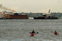 Space Shuttle Enterprise makes its way up by Hudson River to be placed at the Intrepid Sea, Air and Space Museum in New York, June 6, 2012.  Photo by Eduardo Munoz Alvarez / VIEW..
