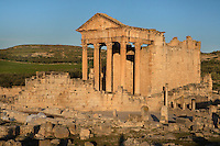 General view of the Roman Capitol, 2nd century, in Dougga, Tunisia, pictured on January 31, 2008, in the morning. Dougga has been occupied since the 2nd Millennium BC, well before the Phoenicians arrived in Tunisia. It was ruled by Carthage from the 4th century BC, then by Numidians, who called it Thugga and finally taken over by the Romans in the 2nd century. Situated in the north of Tunisia the site became a UNESCO World Heritage Site in 1997. This is one of the best preserved Roman temples in North Africa with a portico of six Corinthian columns. Picture by Manuel Cohen.