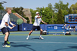 DURHAM, NC - APRIL 14: Notre Dame's Eddy Covalschi (right) and Josh Hagar (left) during doubles. The Duke University Blue Devils hosted the University of Notre Dame Fighting Irish on April 14, 2017, at Ambler Tennis Stadium in Durham, NC in a Division I College Men's Tennis match. Duke won the match 4-3.