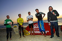 Dave Neilsen (AUS), Josh Kerr (AUS), Dave Reardon Smith (AUS) and James Catto (AUS) with Matt Hoy (AUS)..Cottesloe Beach, Perth, Western Australia, Saturday August 18 2001..A round of  The Quiksilver Airshow International Series, with $20,000 in prize-money was run today at Cottesloe Beach. The Quiksilver Airshow is the richest and most spectacular surfing event to be staged at a Perth Beach. The contest is based around the futuristic moves of aerial surfing, where each surfer  is judged on their best two aerial manoeuvres in each heat. (Photo: joliphotos.com)