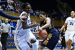 23 November 2014: Duke's Elizabeth Williams (left) has the ball stolen by Marquette's Arlesia Morse (right). The Duke University Blue Devils hosted the Marquette University Golden Eagles at Cameron Indoor Stadium in Durham, North Carolina in a 2014-15 NCAA Division I Women's Basketball game. Duke won the game 83-51.