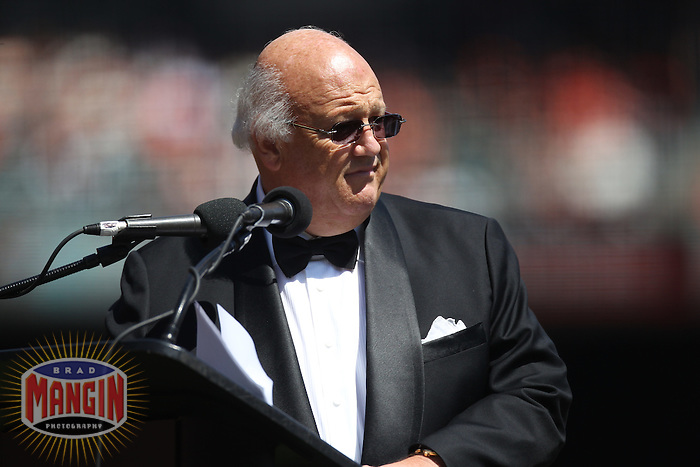 SAN FRANCISCO - APRIL 8:  Radio broadcaster Jon Miller of the San Francisco Giants emcees pre-game ceremonies on the field before the game against the St. Louis Cardinals during Opening Day at AT&T Park on April 8, 2011 in San Francisco, California. Photo by Brad Mangin