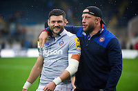 Jeff Williams and Max Lahiff of Bath Rugby after the match. Aviva Premiership match, between Northampton Saints and Bath Rugby on September 3, 2016 at Franklin's Gardens in Northampton, England. Photo by: Patrick Khachfe / Onside Images