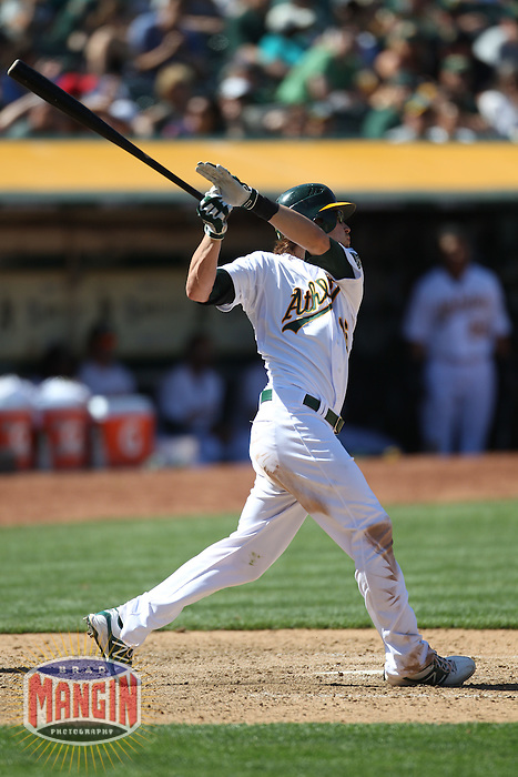 OAKLAND, CA - APRIL 22:  Josh Reddick #16 of the Oakland Athletics bats against the Cleveland Indians during the game at O.co Coliseum on Sunday April 22, 2012 in Oakland, California. Photo by Brad Mangin