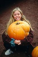FRUITS - VEGETABLES<br /> Girl w/Large Pumpkin<br /> Wahoe Valley, NV