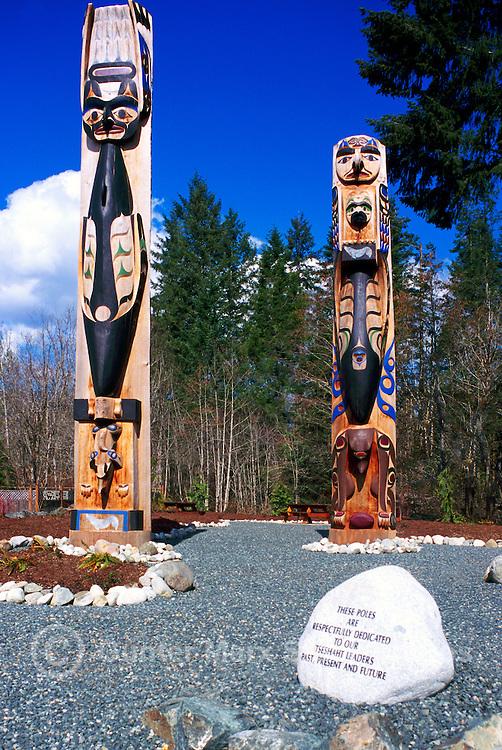 Nuu-chah-nulth Totem Poles on Tseshaht First Nation Reserve, near Port Alberni, Vancouver Island, BC, British Columbia, Canada