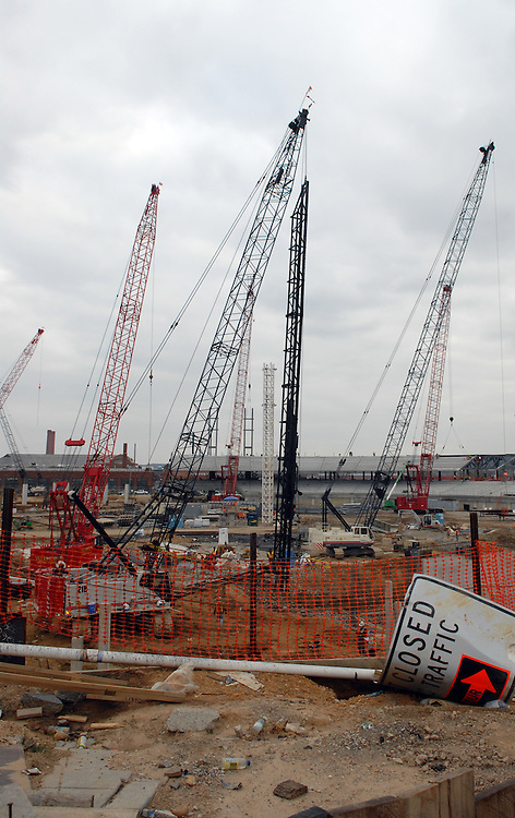 Construction at the new baseball stadium in SE, along the Anacostia River.