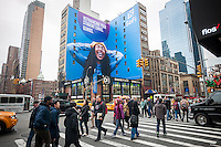 An advertisement for SoFi, a fintech personal finance startup, in New York promotes refinancing student loans, seen on Friday, January 20, 2017  (© Richard B. Levine)