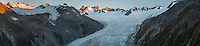 Dusk over Southern Alps and Franz Josef Glacier, Westland Tai Poutini National Park, West Coast, World Heritage Area, New Zealand