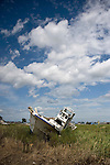 A fishing boat washed inland during the March 11 tsunami remains unclaimed in Natori City, Miyagi Prefecture, Japan on 08 Sept. 2011.  Photograph: Robert Gilhooly