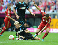 FUSSBALL   1. BUNDESLIGA  SAISON 2012/2013   7. Spieltag FC Bayern Muenchen - TSG Hoffenheim    06.10.2012 Andreas Beck (li, TSG 1899 Hoffenheim) gegen Franck Ribery (FC Bayern Muenchen)