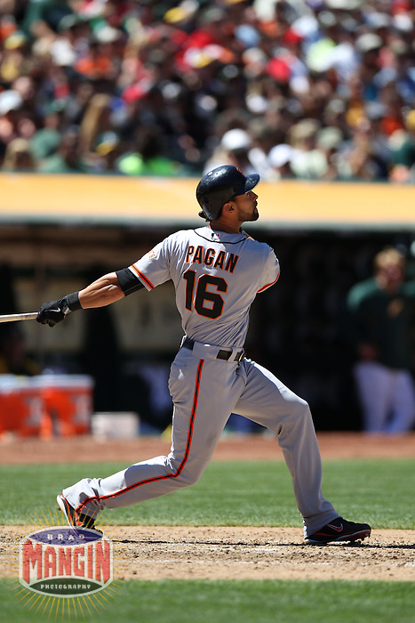 OAKLAND, CA - JUNE 24:  Angel Pagan #16 of the San Francisco Giants bats against the Oakland Athletics during the game at O.co Coliseum on Sunday, June 24, 2012 in Oakland, California. Photo by Brad Mangin