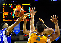 Corey Webster (left) in action during the national basketball league match between Wellington Saints and Taranaki Mountainairs at TSB Bank Arena in Wellington, New Zealand on Friday, 12 May 2017. Photo: Dave Lintott / lintottphoto.co.nz