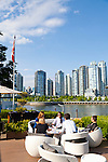 The outdoor dining area at the Granville Island Hotel offers a glorious sunny afternoon with views of False Creek and downtown Vancouver, B.C.