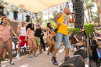 LAS VEGAS, NV - APRIL 29: Rob Gronkowski and Mojo Rawley perform with Flo Rida at The Ragazzo in Las Vegas, Nevada on April 29, 2017. Credit: GDP Photos/MediaPunch