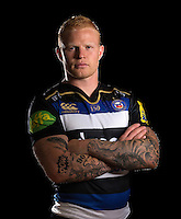 Tom Homer poses for a portrait in the 2015/16 home kit during a Bath Rugby photocall on September 8, 2015 at Farleigh House in Bath, England. Photo by: Patrick Khachfe / Onside Images