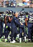 Seattle Seahawks head coach Pete Carroll joins his team before their game against the  Denver Broncos at CenturyLink Field in Seattle, Washington on September 21, 2014. The Seahawks won 26-20 in overtime.    ©2014. Jim Bryant Photo. All rights Reserved.