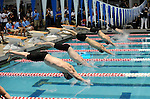 26 MAR 2011:  The start of the mens 100 yard freestyle race during the Division III Men's and Women's Swimming and Diving Championship held at Allan Jones Aquatic Center in Knoxville, TN.  The race was won by Craig Fleming of Kalamazoo with a time of 44.06 to win the national title. David Weinhold/NCAA Photos