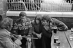 Appleby Gypsy Fair 1981. Story telling Roma tradition Appleby Pub Lake District 1981<br /> <br /> L-R. Aries, Joe Ewbank, George (Coffee) Lowther, Big Joe Ewbank (Big Foot)