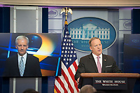 Washington, DC, April 13, 2017, USA: Sean Spicer, the White House Press Secretary answers a reporter's question via Skype during the daily press briefing in the White House press room in Washington DC.  <br /> CAP/MPI/PYL<br /> &copy;PYL/MPI/Capital Pictures