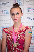 September 8, 2015 - Stuttgart, Germany - ANNA RIZATDINOVA of Ukraine, press interview portrait after EF at 2015 World Championships.