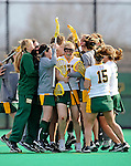 9 April 2008: The University of Vermont Catamounts women's Lacrosse team celebrate Kaitlyn Fuller's game winning goal and their a win against the University of New Hampshire Wildcats at Moulton Winder Field, in Burlington, Vermont. The Catamounts rallied to defeat the visiting Wildcats 9-8 in America East divisional play...Mandatory Photo Credit: Ed Wolfstein Photo