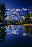 Mount Rainier reflected in one of the many lakes in Mount Rainier National Park, Washington