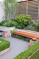 Foliage Garden &amp; patio, raised beds, with wooden bench, blanket, creating an outdoor room with privacy fence and wall, trimmed Buxus boxwood shrubs, birch tree Betula, Dicentra flowers