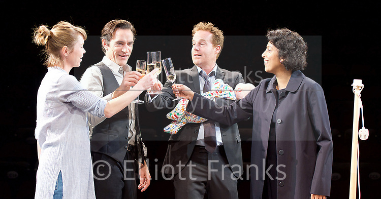 Consent <br /> by Nina Raine<br /> at the <br /> Dorfman Theatre, National Theatre, Southbank, London, Great Britain <br /> press photocall <br /> 3rd April 2017 <br /> Directed by Roger Michell<br /> Set Designed by Hildegard Bechtler<br /> Costumes Designed by Dinah Colin<br /> <br /> Anna Maxwell Martin as Kitty <br /> Ben Chaplin as Edward<br /> Adam James as Jake<br /> Priyanga Burford as Rachel <br /> <br /> Mischa Wakefield-Raine (baby)<br /> <br />  <br /> Press night: Tuesday 4 April<br />  <br /> <br /> <br /> Photograph by Elliott Franks <br /> Image licensed to Elliott Franks Photography Services