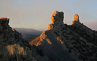 Chimney Rock (right) and Companion Rock (left), at Chimney Rock National Monument, in Chimney Rock State Park, in San Juan National Forest, South West Colorado, USA. The ridge was an ancestral Puebloan site occupied 925-1125 AD by around 2000 Indians. Chimney Rock was made a National Monument in 2012 and is listed on the US National Register of Historic Places and the Colorado State Register of Historic Properties. Picture by Manuel Cohen