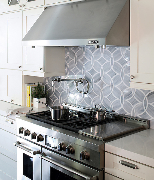 Polly Jewel Glass backsplash for Ann Sacks Tile and Stone, as shown in the Elle Decor San Francisco Showhouse