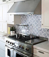 Polly Jewel Glass backsplash, as shown in the Elle Decor San Francisco Showhouse in Absolute White and Pearl,is part of the Ann Sacks Beau Monde collection sold exclusively at www.annsacks.com