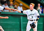 24 July 2010: Vermont Lake Monsters infielder Blake Kelso celebrates scoring during game action against the Lowell Spinners at Centennial Field in Burlington, Vermont. The Spinners defeated the Lake Monsters 11-5 in NY Penn League action. Mandatory Credit: Ed Wolfstein Photo