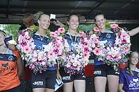 KAATSEN: WEIDUM: 23-08-2016, Kaatsen Dames PC, winnaars Sjoukje Visser, Ilse Tuinenga (Koningin) en Manon Scheepstra, ©foto Martin de Jong