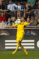 Chad Barson (21) of the Columbus Crew. The Philadelphia Union defeated the Columbus Crew 3-0 during a Major League Soccer (MLS) match at PPL Park in Chester, PA, on June 5, 2013.