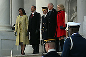 Washington, DC - January 20, 2009 -- United States President Barack Obama and his wife Michelle walks down the stairs of the U.S. Capitol with Vice-President Joe Biden and his wife Jill Biden after the inauguration of the 44th President of the United States of America Tuesday, January 20, 2009 in Washington, DC. Obama becomes the first African-American to be elected to the office of President in the history of the United States..Credit: John Moore - Pool via CNP